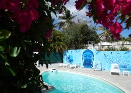 Espace piscine au surf camp Kokoplaj